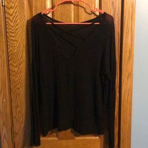 Tops - Black long sleeve lace up